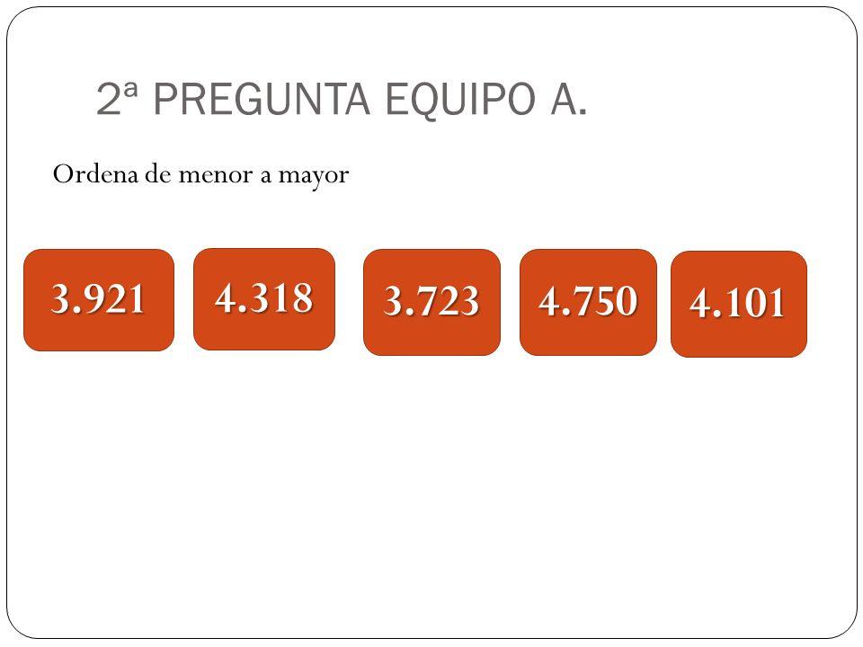 2ª PREGUNTA EQUIPO A. Ordena de menor a mayor 3.9213.723 4.318 4.750 4.101