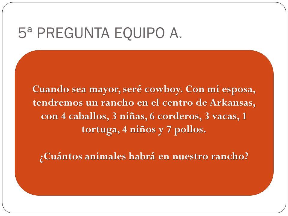 5ª PREGUNTA EQUIPO A. Cuando sea mayor, seré cowboy.