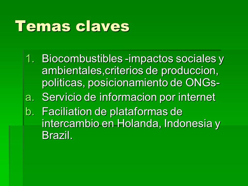 Temas claves 1.Biocombustibles -impactos sociales y ambientales,criterios de produccion, politicas, posicionamiento de ONGs- a.Servicio de informacion por internet b.Faciliation de plataformas de intercambio en Holanda, Indonesia y Brazil.