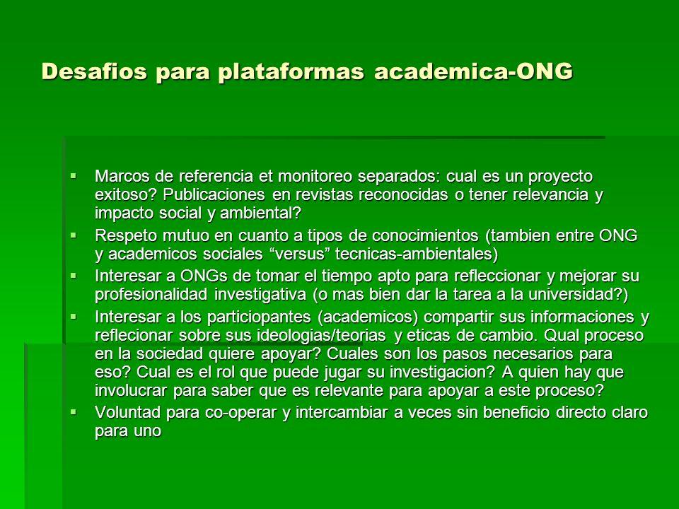 Desafios para plataformas academica-ONG Marcos de referencia et monitoreo separados: cual es un proyecto exitoso.