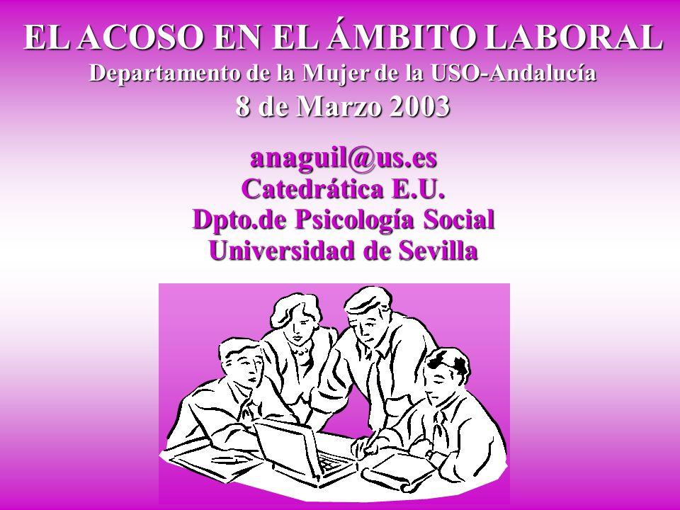 EL ACOSO EN EL ÁMBITO LABORAL Departamento de la Mujer de la USO-Andalucía 8 de Marzo 2003 anaguil@us.es Catedrática E.U.
