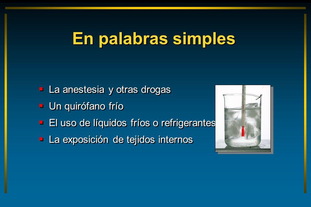 En palabras simples La anestesia y otras drogas Un quirófano frío El uso de líquidos fríos o refrigerantes La exposición de tejidos internos La aneste