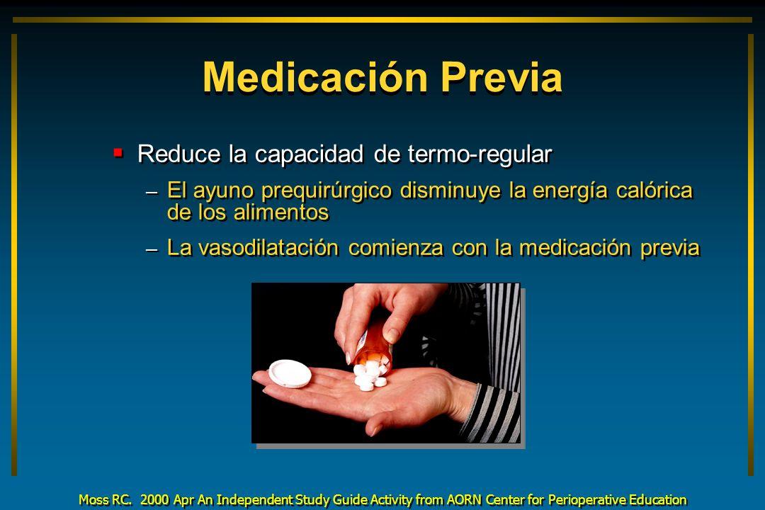 Medicación Previa Reduce la capacidad de termo-regular – El ayuno prequirúrgico disminuye la energía calórica de los alimentos – La vasodilatación com