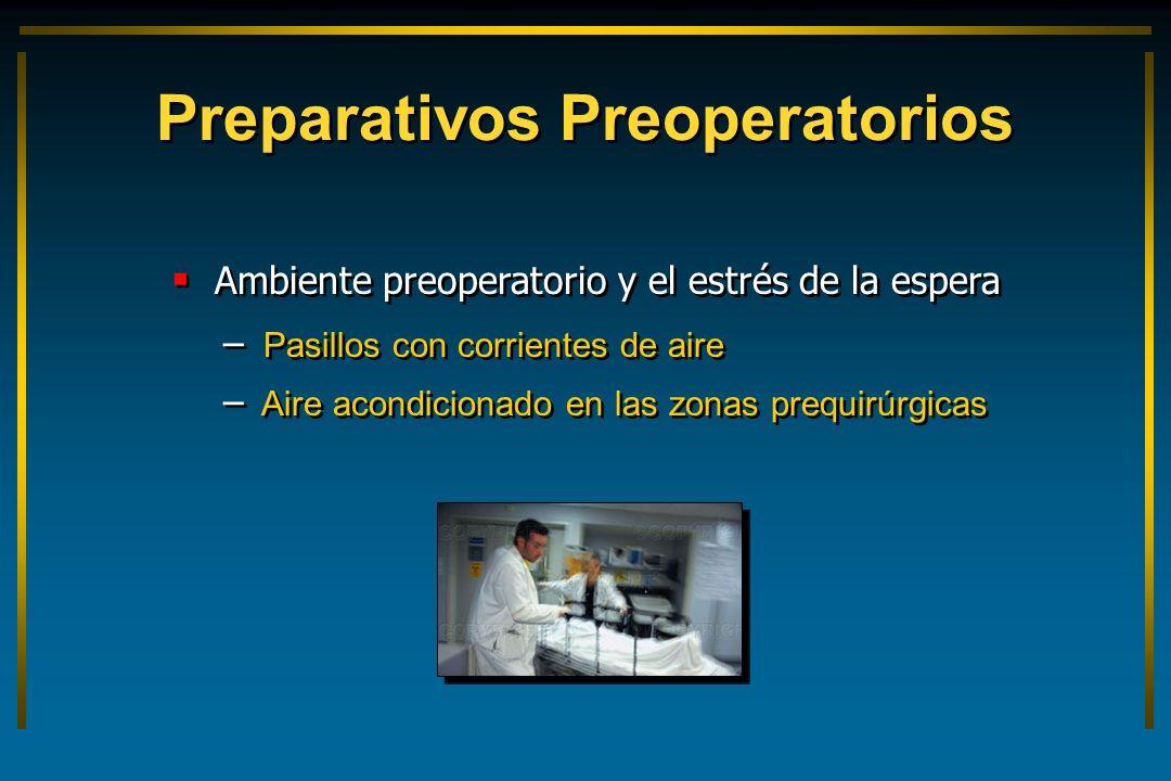 Preparativos Preoperatorios Ambiente preoperatorio y el estrés de la espera – – Pasillos con corrientes de aire – – Aire acondicionado en las zonas pr