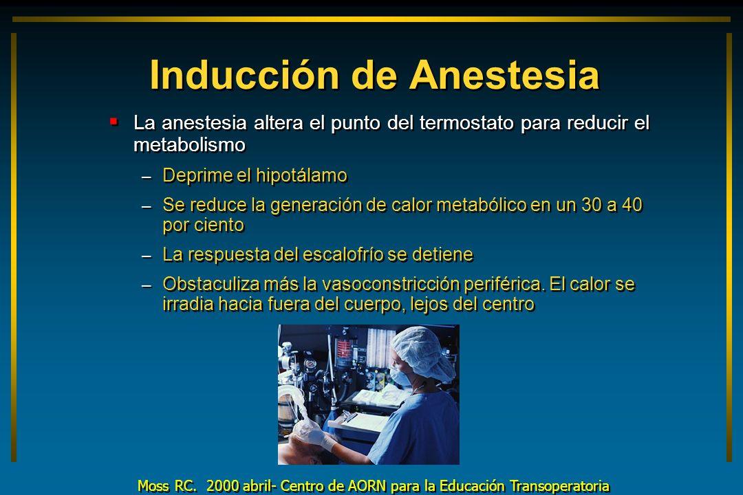 Inducción de Anestesia La anestesia altera el punto del termostato para reducir el metabolismo – Deprime el hipotálamo – Se reduce la generación de ca