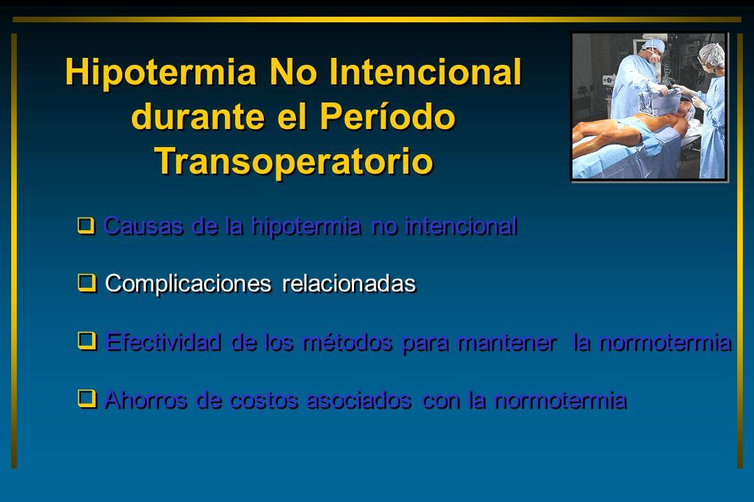 Causas de la hipotermia no intencional Complicaciones relacionadas Efectividad de los métodos para mantener la normotermia Ahorros de costos asociados