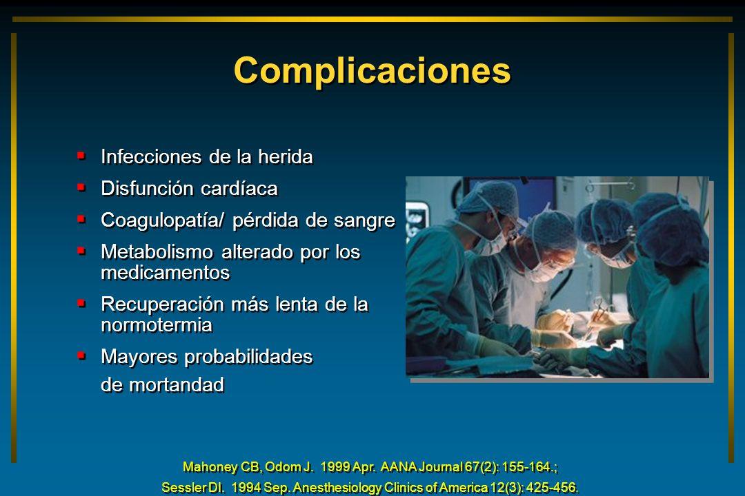 Complicaciones Infecciones de la herida Disfunción cardíaca Coagulopatía/ pérdida de sangre Metabolismo alterado por los medicamentos Recuperación más