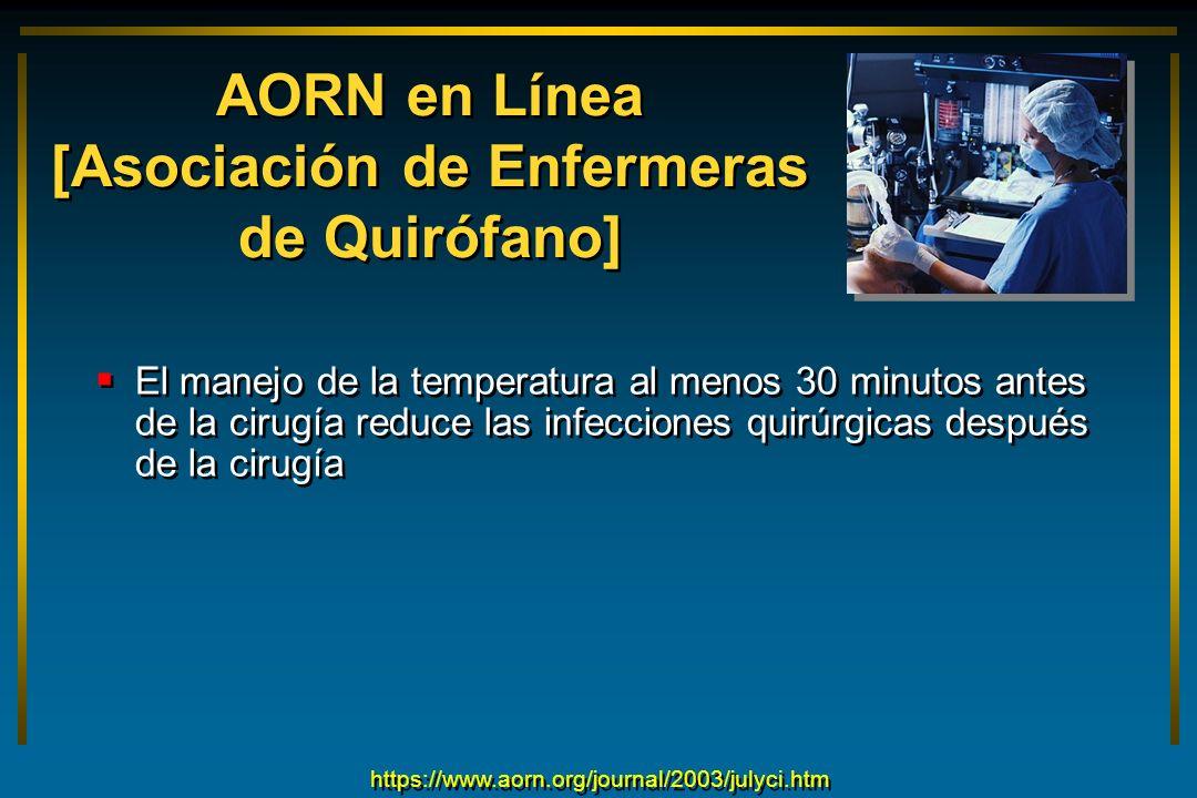 AORN en Línea [Asociación de Enfermeras de Quirófano] El manejo de la temperatura al menos 30 minutos antes de la cirugía reduce las infecciones quirú