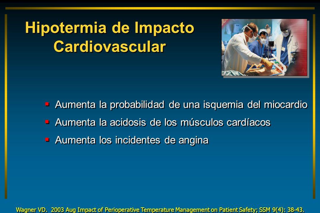 Hipotermia de Impacto Cardiovascular Aumenta la probabilidad de una isquemia del miocardio Aumenta la acidosis de los músculos cardíacos Aumenta los i