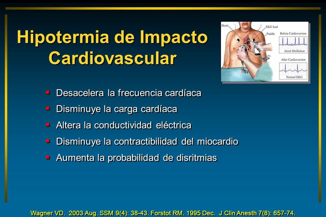 Hipotermia de Impacto Cardiovascular Desacelera la frecuencia cardíaca Disminuye la carga cardíaca Altera la conductividad eléctrica Disminuye la cont