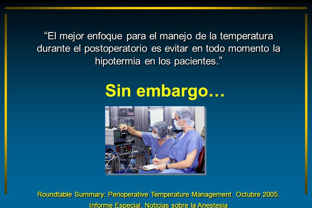 El mejor enfoque para el manejo de la temperatura durante el postoperatorio es evitar en todo momento la hipotermia en los pacientes. Roundtable Summa