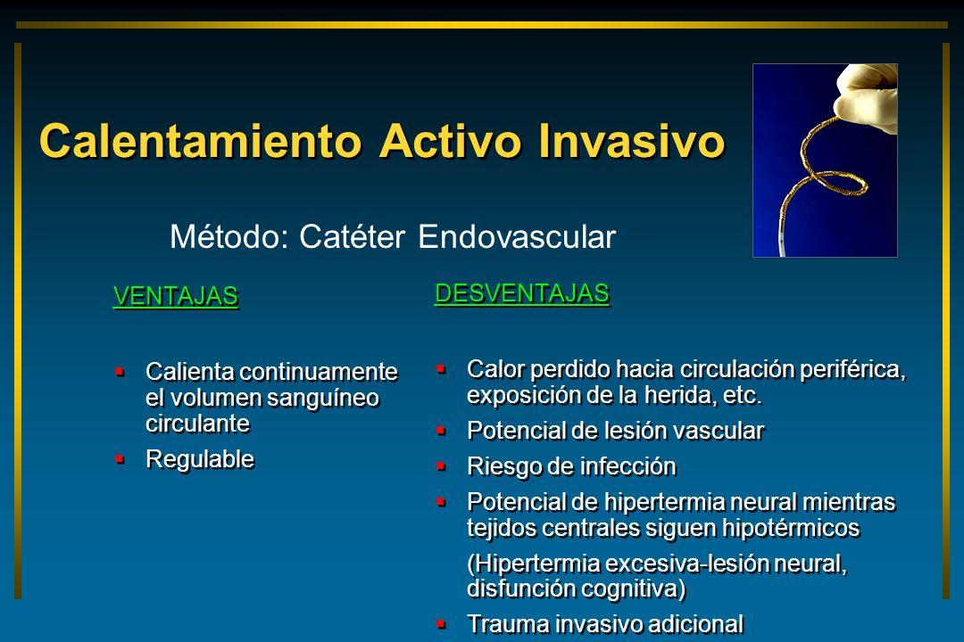Calentamiento Activo Invasivo VENTAJAS Calienta continuamente el volumen sanguíneo circulante Regulable VENTAJAS Calienta continuamente el volumen san