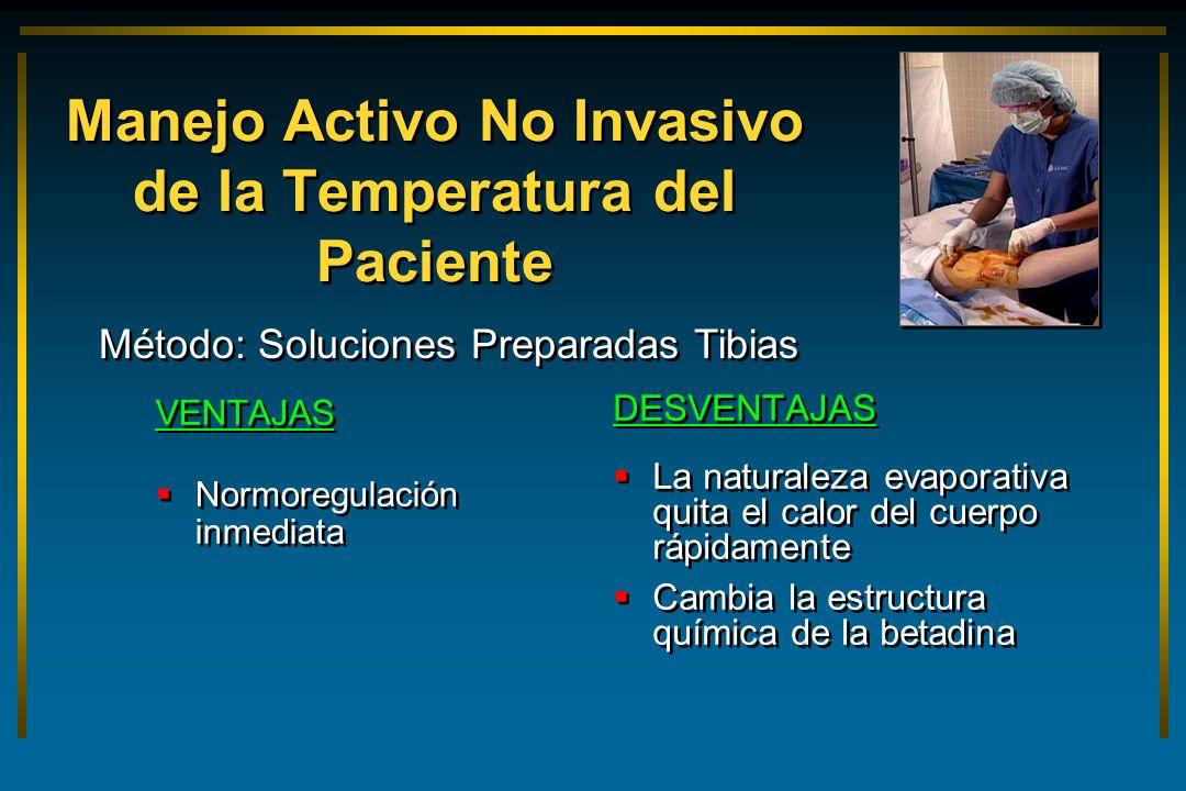 Manejo Activo No Invasivo de la Temperatura del Paciente VENTAJAS Normoregulación inmediata VENTAJAS Normoregulación inmediata DESVENTAJAS La naturale