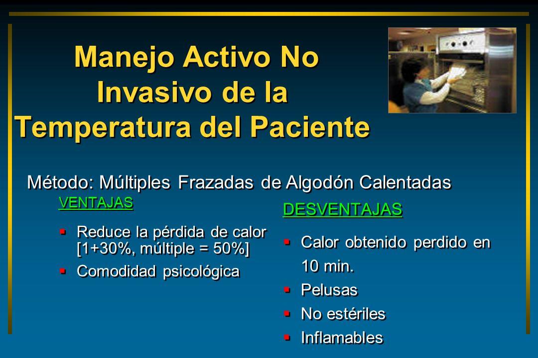 Manejo Activo No Invasivo de la Temperatura del Paciente VENTAJAS Reduce la pérdida de calor [1+30%, múltiple = 50%] Comodidad psicológica VENTAJAS Re