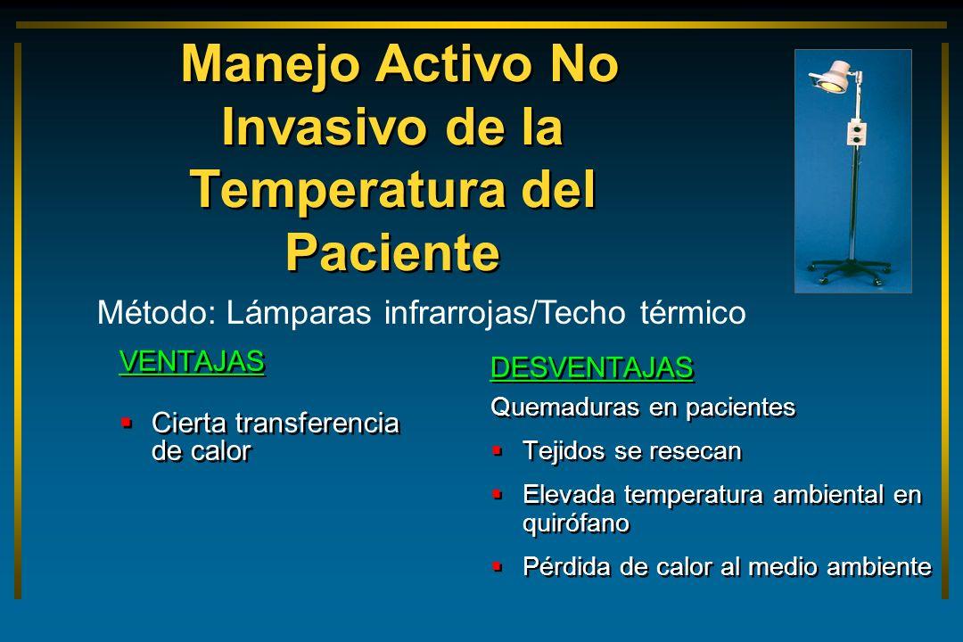 Manejo Activo No Invasivo de la Temperatura del Paciente VENTAJAS Cierta transferencia de calor VENTAJAS Cierta transferencia de calor DESVENTAJAS Que