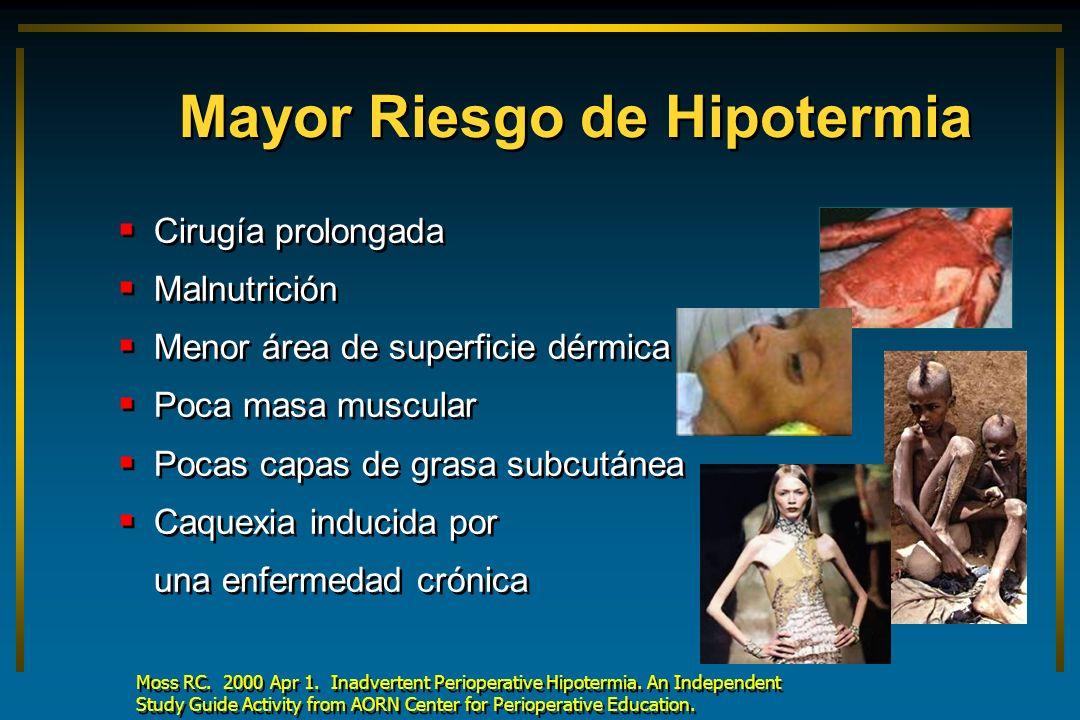 Mayor Riesgo de Hipotermia Cirugía prolongada Malnutrición Menor área de superficie dérmica Poca masa muscular Pocas capas de grasa subcutánea Caquexi