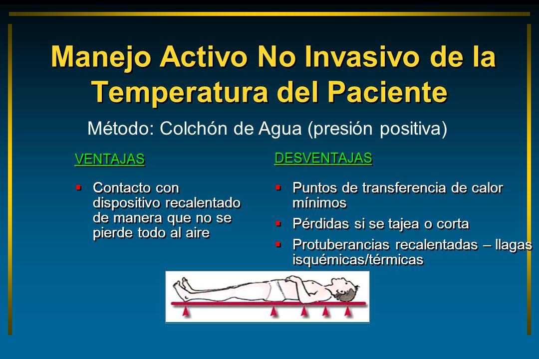 Manejo Activo No Invasivo de la Temperatura del Paciente VENTAJAS Contacto con dispositivo recalentado de manera que no se pierde todo al aire VENTAJA