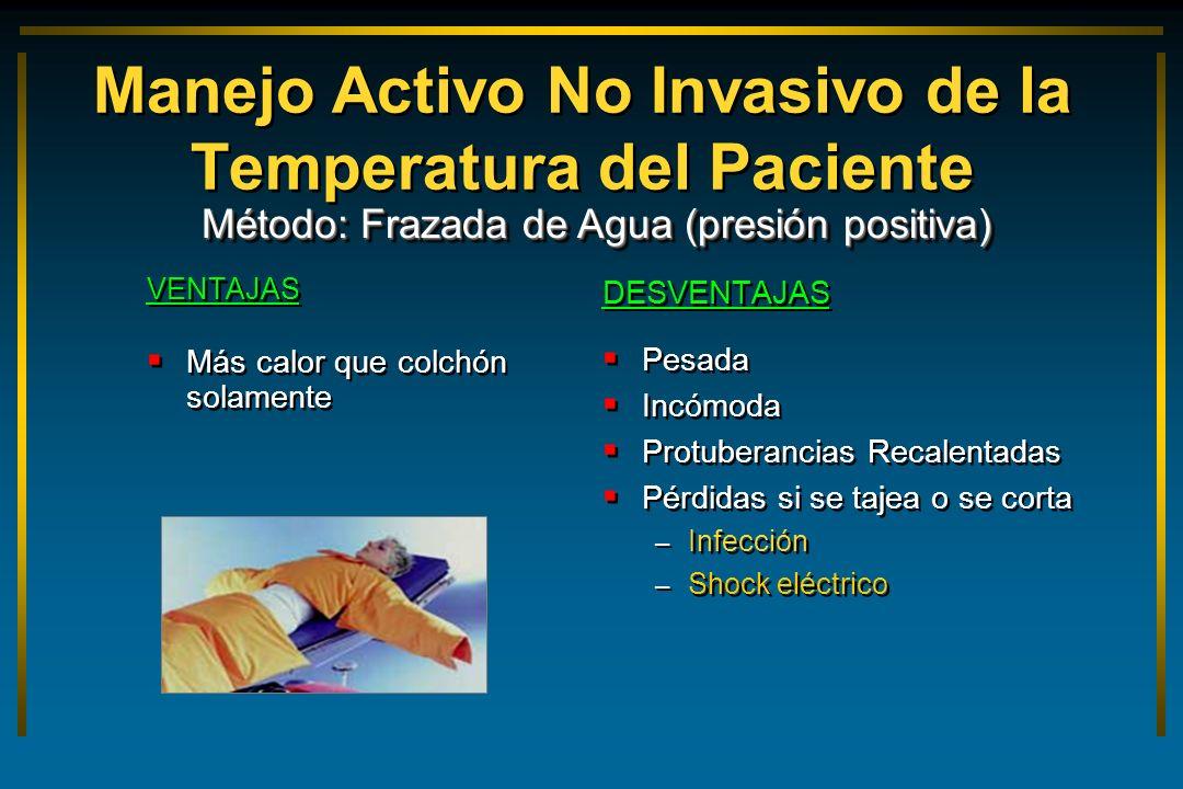 Manejo Activo No Invasivo de la Temperatura del Paciente VENTAJAS Más calor que colchón solamente VENTAJAS Más calor que colchón solamente DESVENTAJAS