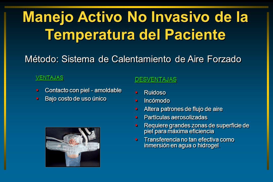 Manejo Activo No Invasivo de la Temperatura del Paciente VENTAJAS Contacto con piel - amoldable Bajo costo de uso único VENTAJAS Contacto con piel - a