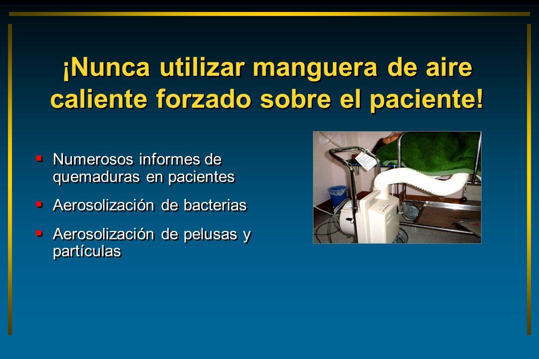 Numerosos informes de quemaduras en pacientes Aerosolización de bacterias Aerosolización de pelusas y partículas ¡Nunca utilizar manguera de aire cali
