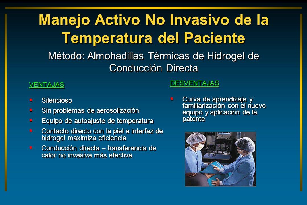 Manejo Activo No Invasivo de la Temperatura del Paciente VENTAJAS Silencioso Sin problemas de aerosolización Equipo de autoajuste de temperatura Conta