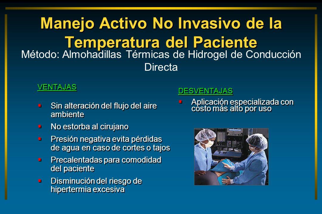 Manejo Activo No Invasivo de la Temperatura del Paciente VENTAJAS Sin alteración del flujo del aire ambiente No estorba al cirujano Presión negativa e