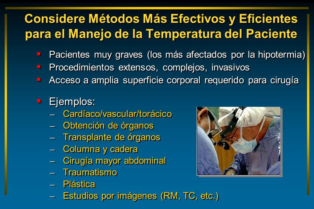Considere Métodos Más Efectivos y Eficientes para el Manejo de la Temperatura del Paciente Pacientes muy graves (los más afectados por la hipotermia)