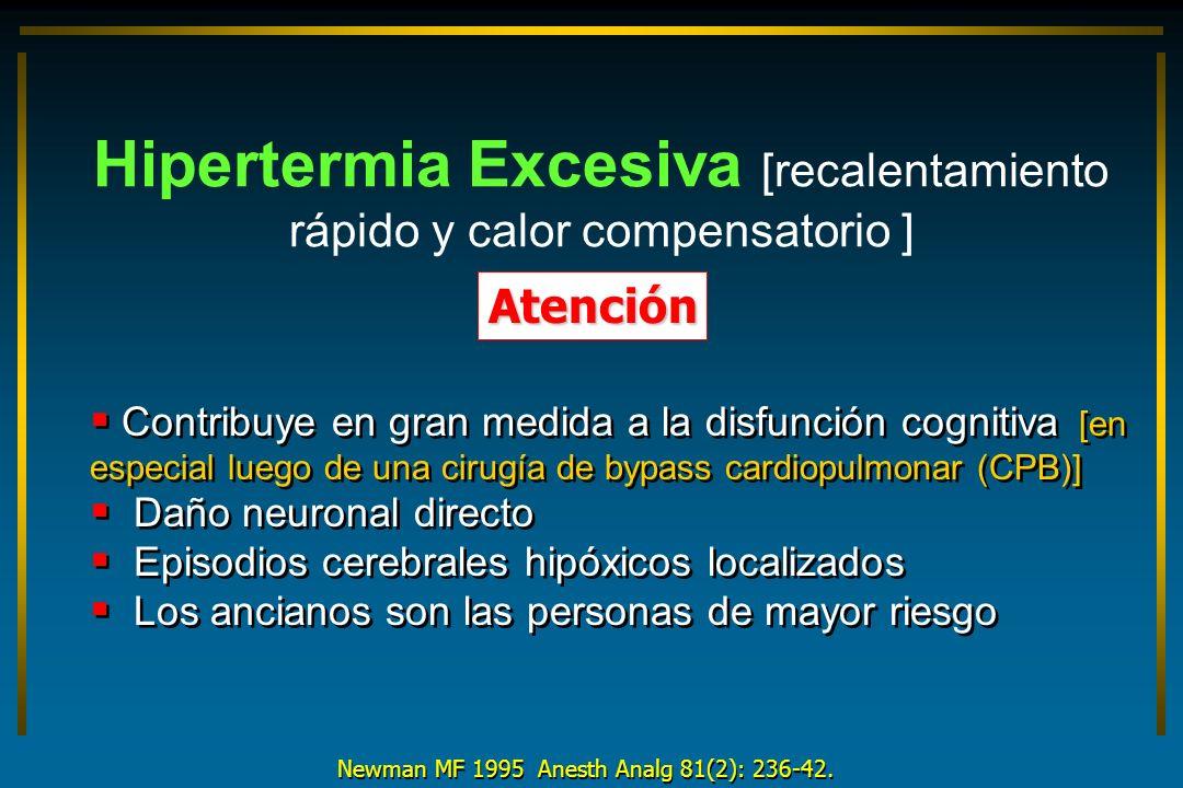 Newman MF 1995 Anesth Analg 81(2): 236-42. Hipertermia Excesiva [recalentamiento rápido y calor compensatorio ] Atención Contribuye en gran medida a l