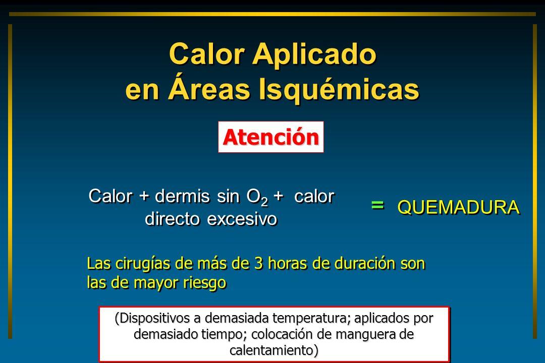 Calor Aplicado en Áreas Isquémicas Atención (Dispositivos a demasiada temperatura; aplicados por demasiado tiempo; colocación de manguera de calentami