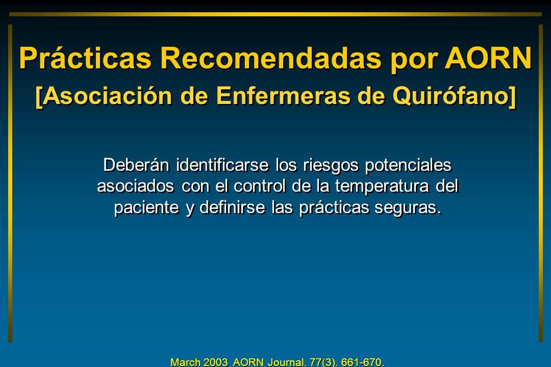 Prácticas Recomendadas por AORN [Asociación de Enfermeras de Quirófano] Deberán identificarse los riesgos potenciales asociados con el control de la t