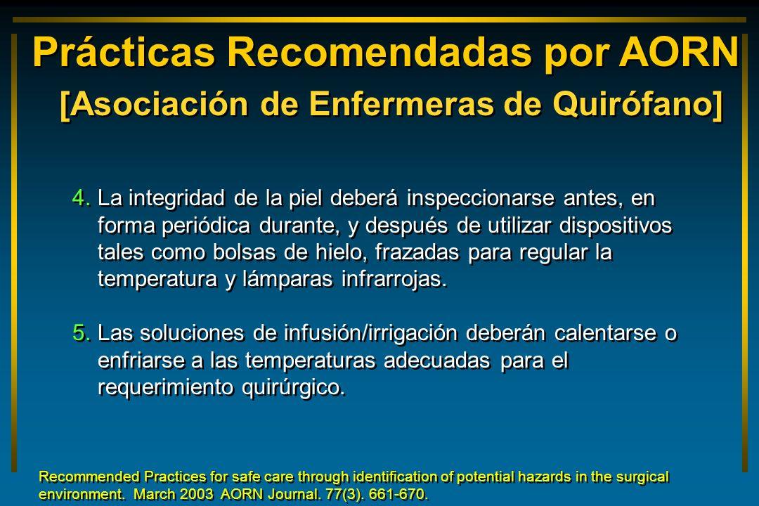 Prácticas Recomendadas por AORN [Asociación de Enfermeras de Quirófano] 4. 4.La integridad de la piel deberá inspeccionarse antes, en forma periódica