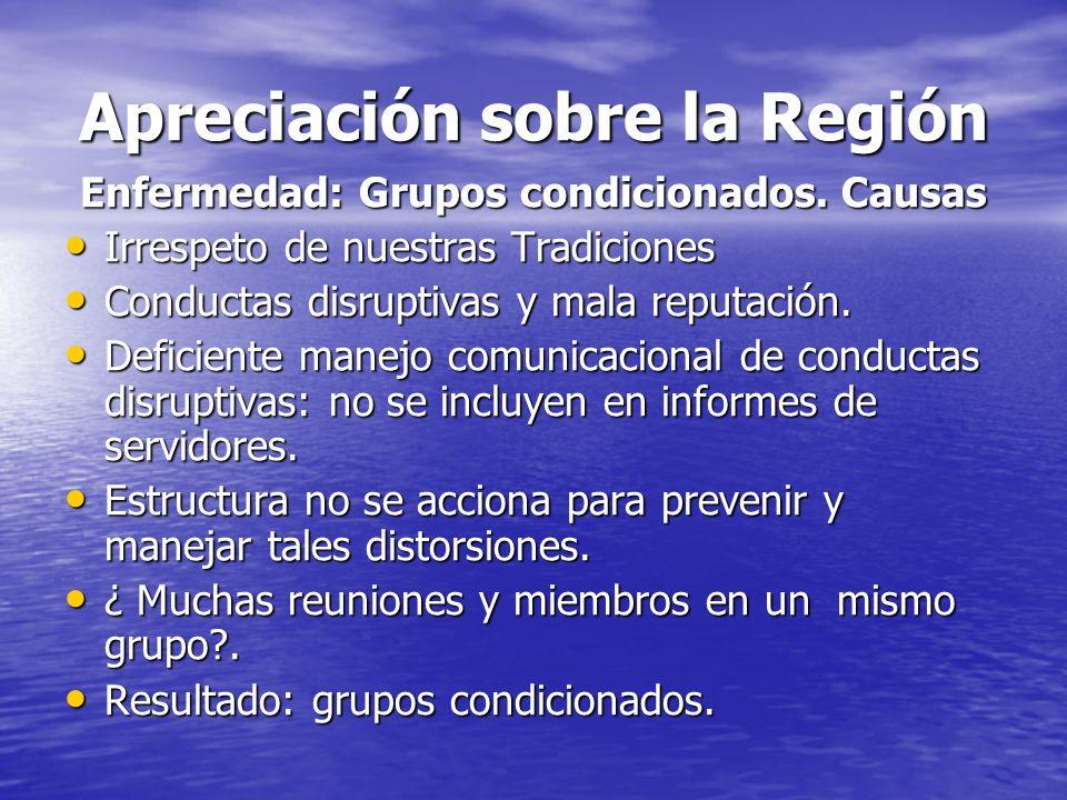 Apreciación sobre la Región Enfermedad: Grupos condicionados. Causas Irrespeto de nuestras Tradiciones Irrespeto de nuestras Tradiciones Conductas dis