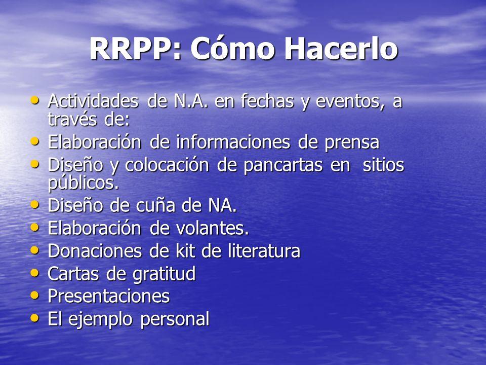 RRPP: Cómo Hacerlo Actividades de N.A. en fechas y eventos, a través de: Actividades de N.A. en fechas y eventos, a través de: Elaboración de informac