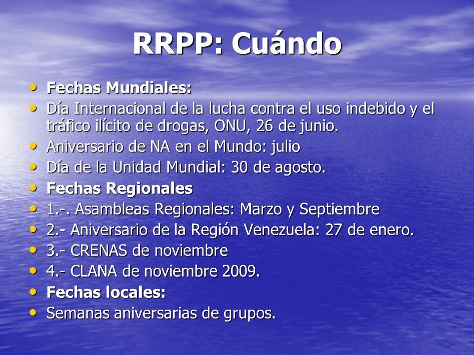 RRPP: Cuándo Fechas Mundiales: Fechas Mundiales: Día Internacional de la lucha contra el uso indebido y el tráfico ilícito de drogas, ONU, 26 de junio