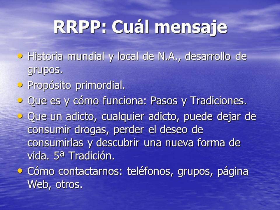RRPP: Cuál mensaje Historia mundial y local de N.A., desarrollo de grupos. Historia mundial y local de N.A., desarrollo de grupos. Propósito primordia