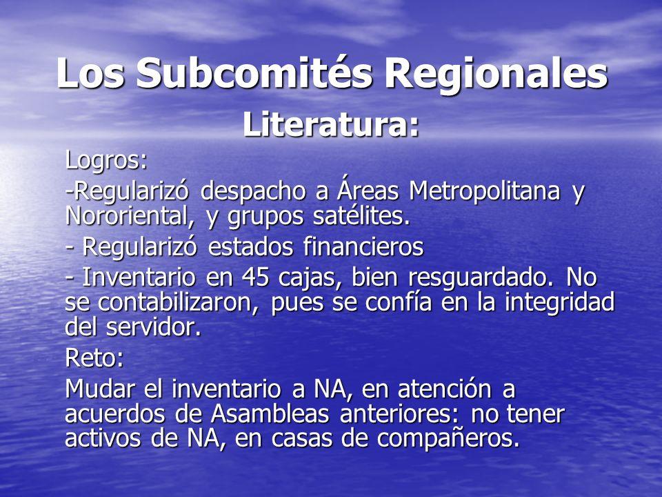 Los Subcomités Regionales Literatura:Logros: -Regularizó despacho a Áreas Metropolitana y Nororiental, y grupos satélites. - Regularizó estados financ
