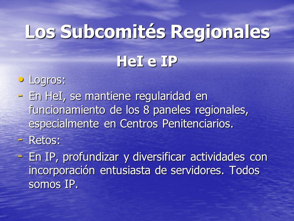 Los Subcomités Regionales HeI e IP Logros: Logros: - En HeI, se mantiene regularidad en funcionamiento de los 8 paneles regionales, especialmente en C