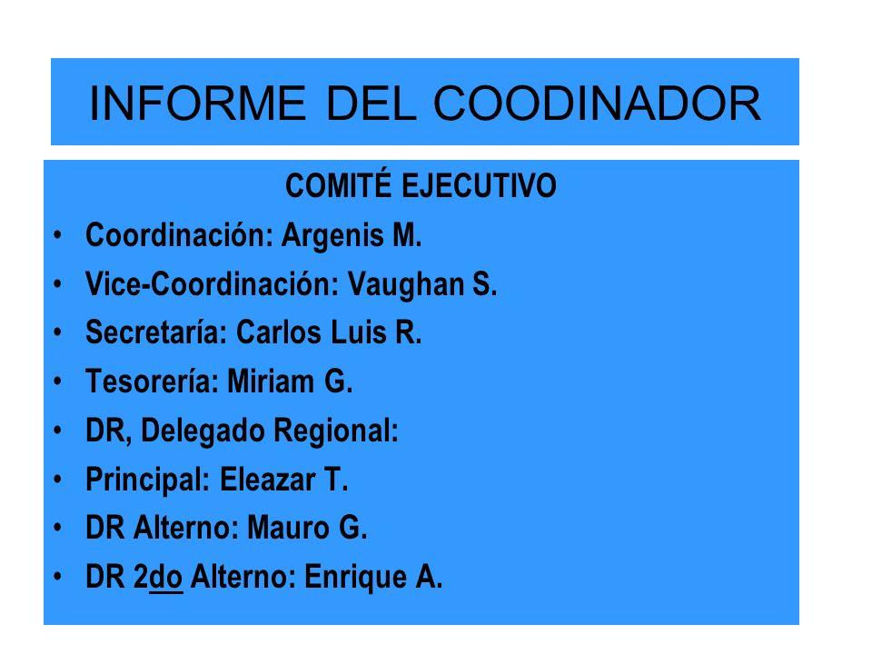 INFORME DEL COODINADOR COMITÉ EJECUTIVO Coordinación: Argenis M.