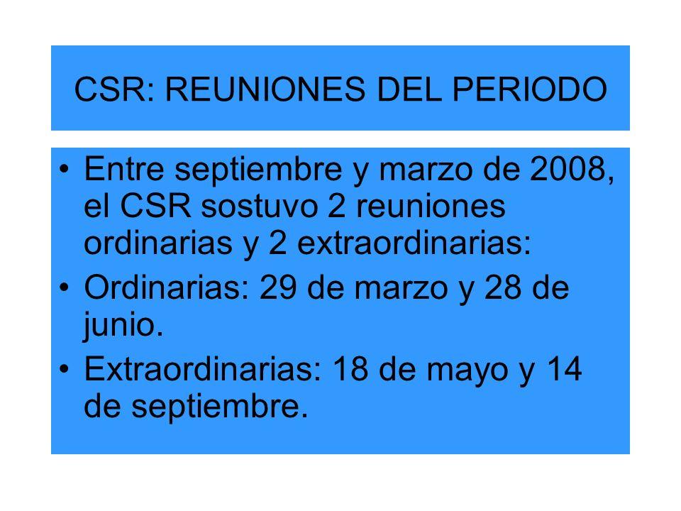 CSR: REUNIONES DEL PERIODO Entre septiembre y marzo de 2008, el CSR sostuvo 2 reuniones ordinarias y 2 extraordinarias: Ordinarias: 29 de marzo y 28 de junio.