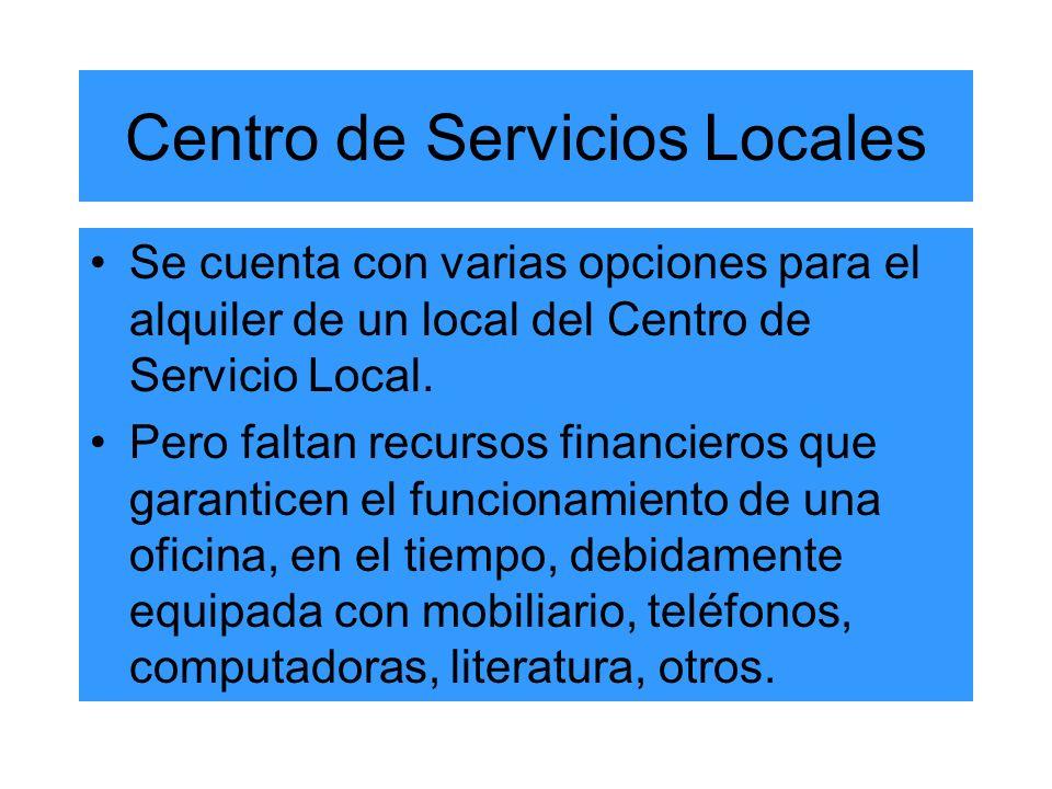 Centro de Servicios Locales Se cuenta con varias opciones para el alquiler de un local del Centro de Servicio Local.