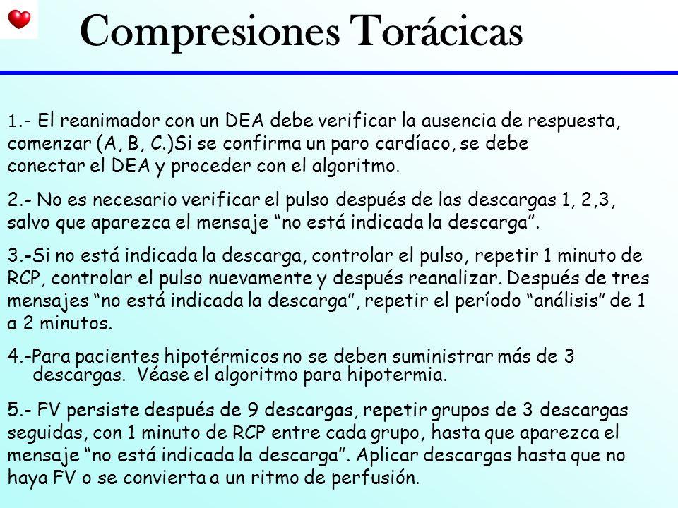 1.- El reanimador con un DEA debe verificar la ausencia de respuesta, comenzar (A, B, C.)Si se confirma un paro cardíaco, se debe conectar el DEA y pr