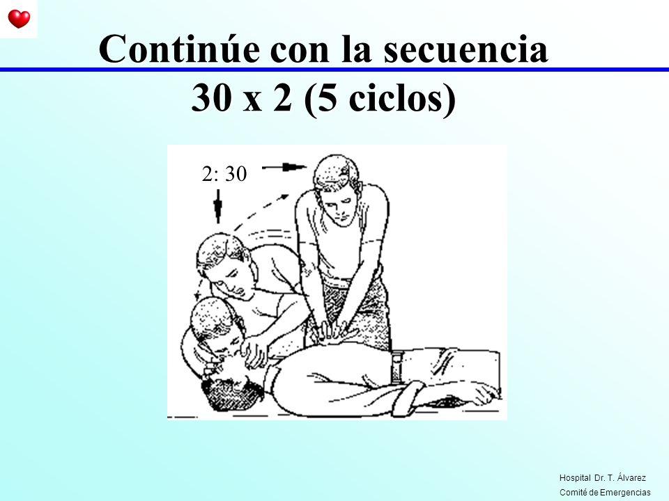 Continúe con la secuencia 30 x 2 (5 ciclos) 2: 30 Hospital Dr. T. Álvarez Comité de Emergencias