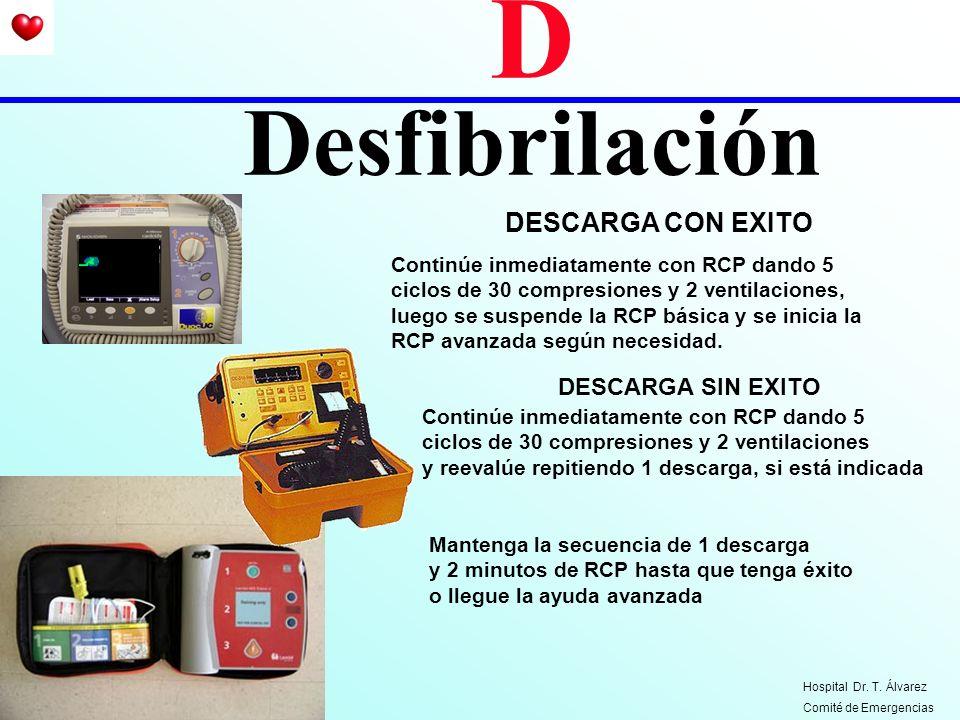 D Desfibrilación DESCARGA CON EXITO Continúe inmediatamente con RCP dando 5 ciclos de 30 compresiones y 2 ventilaciones, luego se suspende la RCP bási