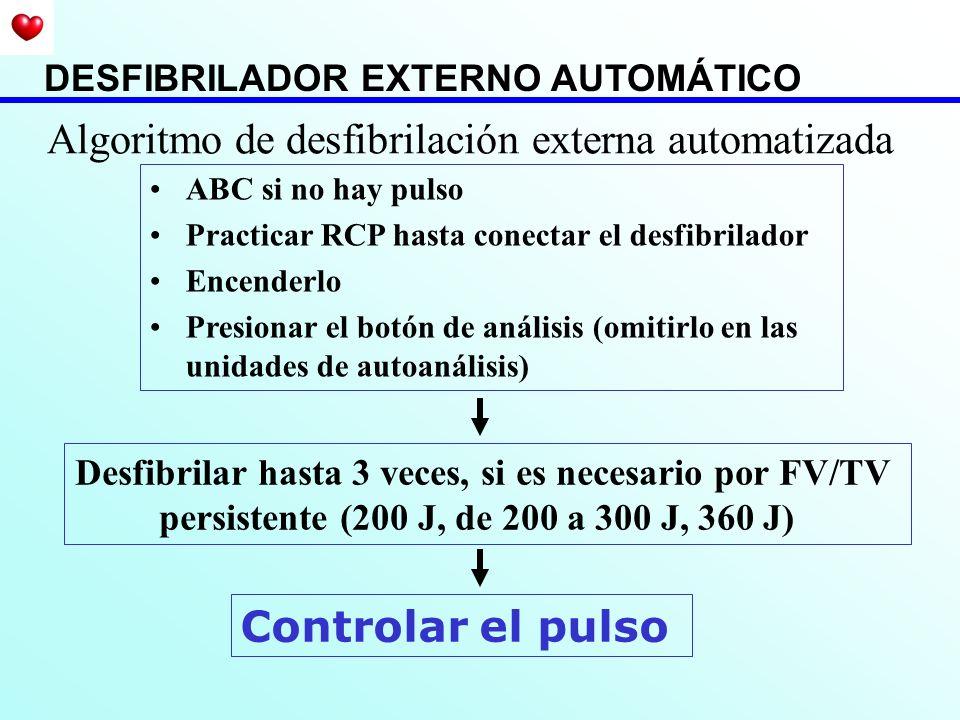 Algoritmo de desfibrilación externa automatizada ABC si no hay pulso Practicar RCP hasta conectar el desfibrilador Encenderlo Presionar el botón de an