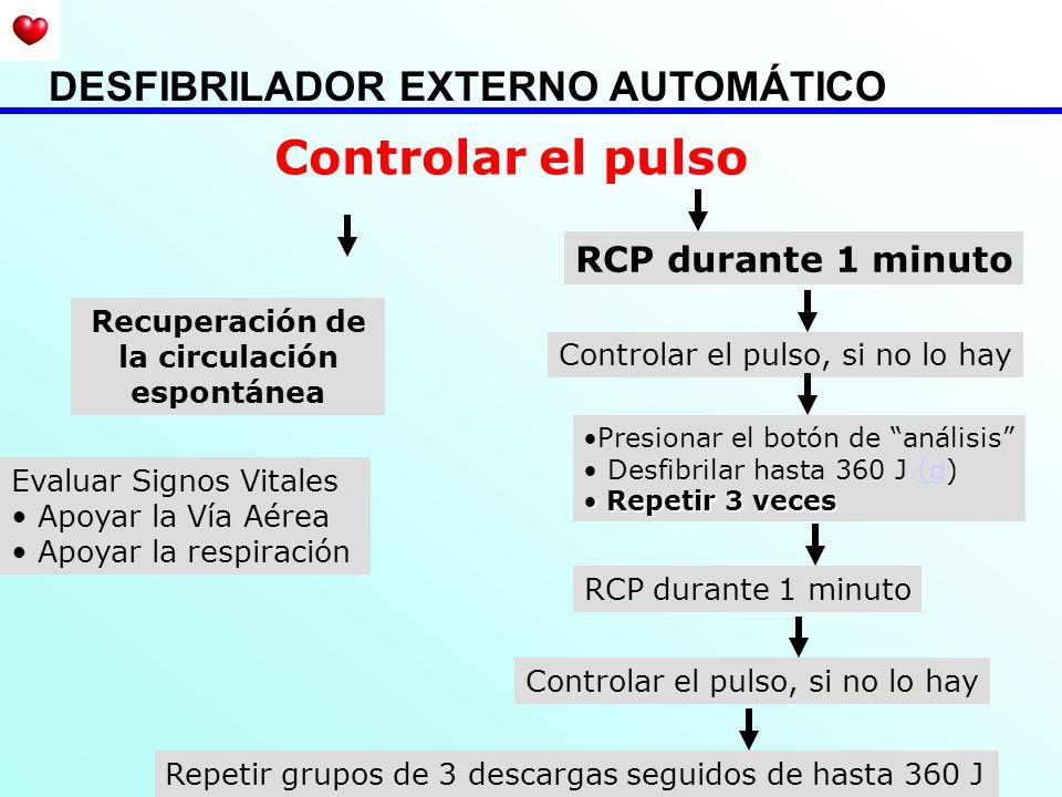 Recuperación de la circulación espontánea Controlar el pulso Evaluar Signos Vitales Apoyar la Vía Aérea Apoyar la respiración RCP durante 1 minuto Con