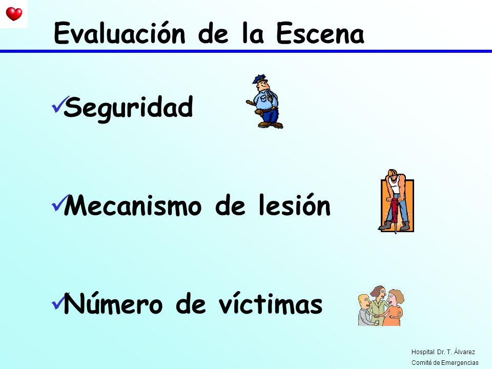 Seguridad Mecanismo de lesión Número de víctimas Evaluación de la Escena Hospital Dr. T. Álvarez Comité de Emergencias