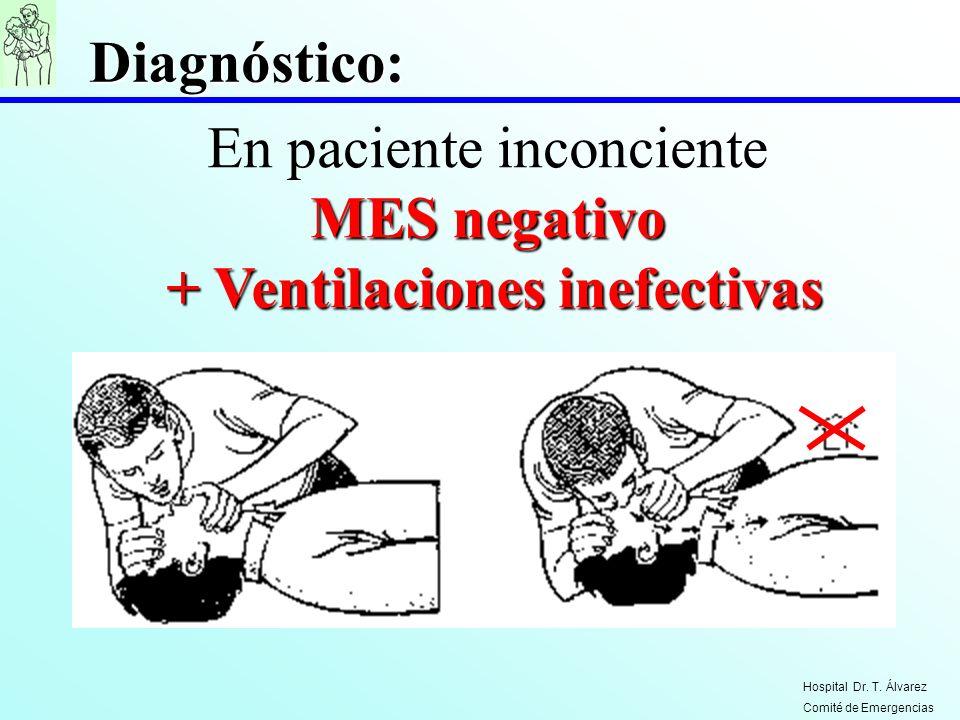 MES negativo En paciente inconciente MES negativo + Ventilaciones inefectivas + Ventilaciones inefectivas Diagnóstico: Hospital Dr. T. Álvarez Comité