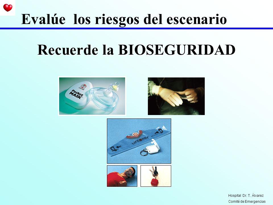 Recuerde la BIOSEGURIDAD Evalúe los riesgos del escenario Hospital Dr. T. Álvarez Comité de Emergencias