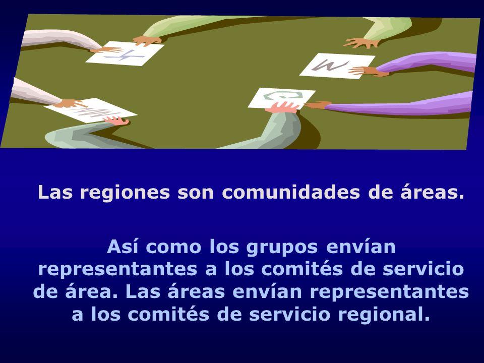 Las regiones son comunidades de áreas. Así como los grupos envían representantes a los comités de servicio de área. Las áreas envían representantes a