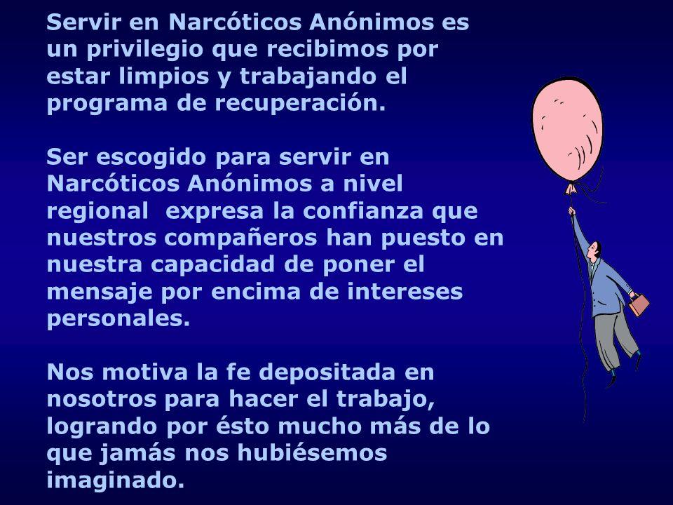 Servir en Narcóticos Anónimos es un privilegio que recibimos por estar limpios y trabajando el programa de recuperación. Ser escogido para servir en N